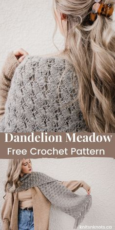 Free pattern for a textured, shell-stitch scarf with fringe. Easy to customize for any yarn weight and any width! Crochet Wrap Pattern, Free Crochet, Knit Crochet, Crochet Patterns, Shawl Patterns, Knitting Patterns Free, Free Pattern, Crochet Shawls And Wraps, Crochet Scarves
