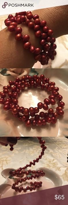 Red fresh water pearls bracelet Absolutely beautiful and delicate, littman jewelers, red pearls. Jewelry Bracelets
