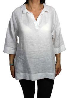 BAGUTTA camicia donna bianca modello TULIP manica ¾ 100% lino vestibilità over…