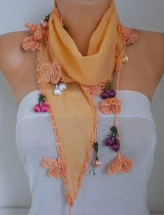 Spring Celebrations Fashion Orange Scarf Cotton Easter by fatwoman