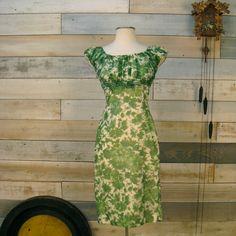 Vintage 1960s green floral dress