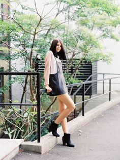 Love the leather overall dress!