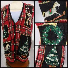 Ugly Christmas Sweater Vest Wreath & Sparkly tree Size Med Fits SZ L Red Black #HeirloomCollectibles #VestSleeveless