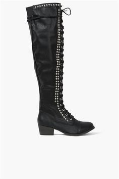 Studded Tall Boot in Black