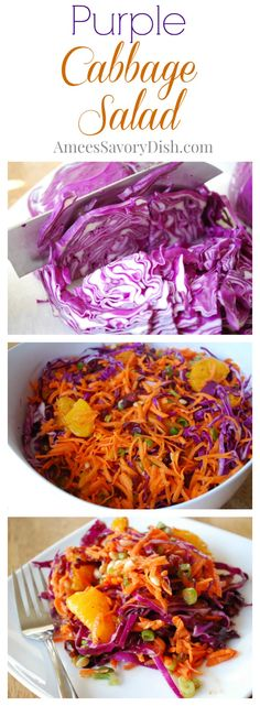A delicious recipe for fresh purple cabbage salad made with fresh carrots, cabbage and scallions adapted from the Passover by Design cookbook. Purple Cabbage Salad Recipe, Purple Cabbage Recipes, Cabbage Salad Recipes, Purple Cabbage Slaw, Real Food Recipes, Cooking Recipes, Healthy Recipes, Delicious Recipes, Vegetarian Recipes
