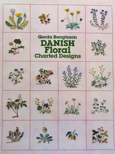 Dover Needlework Series Gerda Bengtsson DANISH FLORAL Charted Designs - Book of Counted Cross Stitch Patterns & Charts