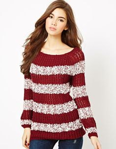 stiped sweater - like big neck Diva Fashion, Fashion Outfits, Cold Weather Fashion, Old Fashioned Cocktail, Red Sweaters, Passion For Fashion, What To Wear, Autumn Fashion, Cute Outfits
