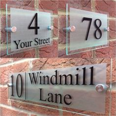 Glass effect acrylic plaque House Name Plaques, House Name Signs, House Names, Home Signs, Door Number Plates, Door Number Sign, Door Numbers, Contemporary House Numbers, Name Plate Design
