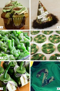 Camo or army party ideas  http://www.chickabug.com/blog/2012/10/camo-party-ideas.html#