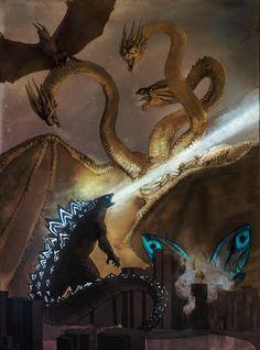 Godzilla, Rodan and Mothra vs King Ghidorah Godzilla Vs King Ghidorah, King Kong Vs Godzilla, Godzilla 2, Godzilla Comics, Geek Culture, Dragon Art, Fantasy Dragon, Anime Japan, Character Creation
