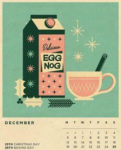 Happy 1st of December! Let the egg nog flow!  We hope you've all got this page of our 2016 calendar up today.  2017 calendar is available (in limited qtys) on the store now.  #calendar #2017calendar #eggnog #christmas #christmasillustration #retrochristmas #vintageillustration #vintage #midcenturymodern