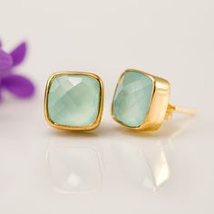Stud Earrings - Cushion Cut Aqua Blue Chalcedony Bezel Stud Post Earrings - Gold Stud Gemstone Earrings