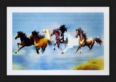 Avercart Wild Horses Stampede Horse Running In Group Poster 18x12 Inch