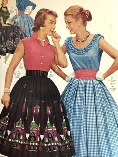 1956- a gathered skirt (left) creates fullness around the hip. A wide cinch belt brings in the waist.