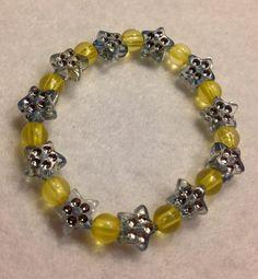 Yellow and Blue Rhinestone Star Beads Child by JewelryNMoreByKaren