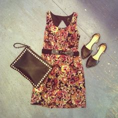 This dark floral dress ($72) is the perfect piece to transition you into fall. Pair it with a simple belt ($36) and studded clutch ($60) for a totally on-trend look