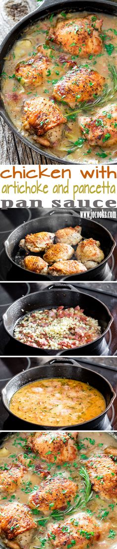 Chicken with Artichoke and Pancetta Pan Sauce - a delicious and quick one pot meal that can be made in under 30 minutes, perfect dinner for a busy weeknight. used bacon instead of pancetta. Turkey Recipes, New Recipes, Chicken Recipes, Cooking Recipes, Favorite Recipes, Healthy Recipes, Recipe Chicken, Paleo Dinner, Dinner Recipes