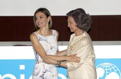 Queen Letizia and Queen Sofia looking happy together at the 2015 UNICEF awards in Madrid on Tuesday.