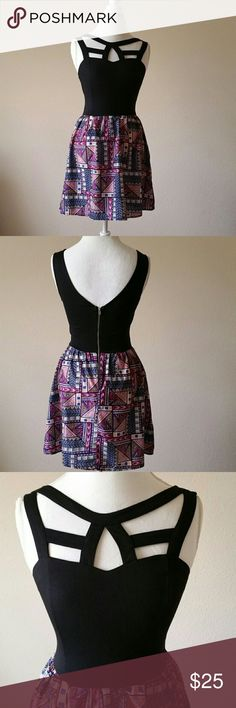 Charlotte Russe Caged Front Skater Dress Charlotte Russe Caged Front Geometric Print Black Dress Size Small. 95% Polyester 5% Spandex. In perfect condition. Charlotte Russe Dresses Mini