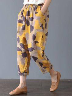 Cotton Linen, Printed Cotton, Plus Size Harem Pants, Style Casual, Linen Pants, Plus Size Blouses, Fashion Pants, Cropped Pants, Neue Trends