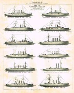 "Marine Print - Meyers Lexicon's ""PANZER BOATS (PANZERSCHIFFE II"" - Lithograph - 1913"