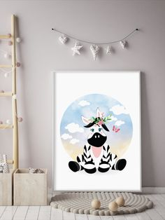 This amazingly cute Zebra poster fits kids room or any other room :) Looks best when framed. All Illustrations were made by us, LadiesMinimal from scratch, without using any premade elements. Zebra Illustration, Baby Girl Pictures, Exercise For Kids, Nursery Art, Illustrations Posters, Art For Kids, Kids Room, Handmade Gifts, Cute