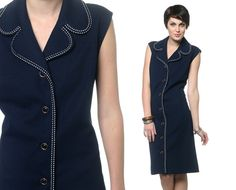 41 inch hips. 70s Mini Dress Navy Blue Button Up Vintage Coat Dress by oldage, $43.00