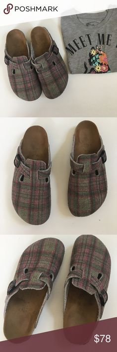 { Birki's } plaid clog Birkenstock flats Birki's slip on clog flats with plaid design. Slip on, covered toe, worn with normal wear on it has some linting but in good condition still. The size is hard to see but is a L8/M6 EURO 39 which makes these run bigger. Super cute pattern and comfy. Birkenstock Shoes Mules & Clogs