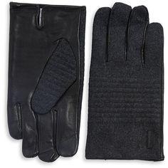 Calvin Klein Men's Brushed Gloves ($49) ❤ liked on Polyvore featuring men's fashion, men's accessories, men's gloves, black medium, mens leather gloves, mens gloves and mens leather accessories