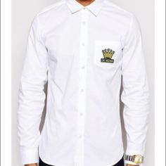 Mens moschino crown button up shirt Mens love moschino shirt. White cotton with crown patch. Watch detail on cuff Moschino Tops Button Down Shirts