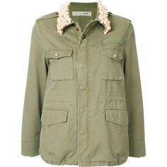 Tu Es Mon Trésor pearl collar field jacket ($2,540) ❤ liked on Polyvore featuring outerwear, jackets, green, military field jacket, military inspired jacket, army green jackets, green military style jacket and military style jacket