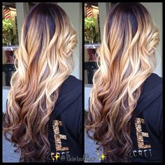 ❤ ombre with just blonde in the middle. No need for root touch ups, & it fades back to brown. Perfect.