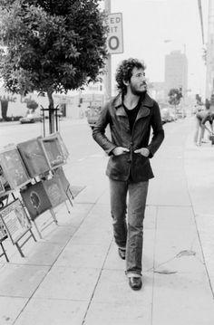 Bruce Springsteen walks down Los Angeles' Sunset Strip in 1975.