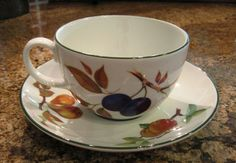 Royal Worcester Evesham Vale Green Jumbo Cup Saucer Unique Piece | eBay