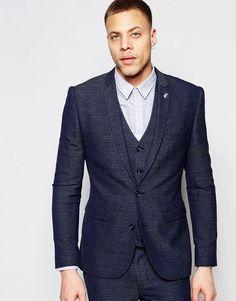 ASOS+Super+Skinny+Suit+Jacket+In+Check+in+Blue