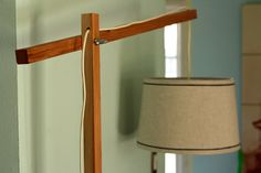 wooden floor lamp.