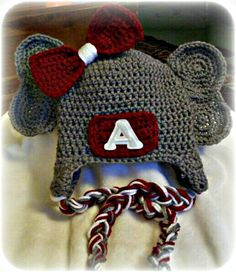 Alabama Roll Tide Can be made using any beanie pattern. Ears are crocheted circles sewn together & sewn to beanie.