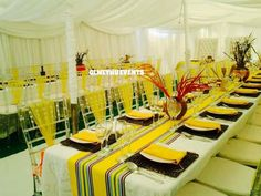 African decor African Wedding Theme, African Wedding Attire, African Theme, Traditional Wedding Decor, African Traditional Wedding, Wedding Table Decorations, Decoration Table, Wedding Set Up, Wedding Gowns