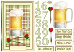 A Beerlicious Day Decoupage Age Card Front on Craftsuprint designed by Sandra Carlse - This is a great male decoupage card front. I have included numbers on this sheet for you to be able to cut out