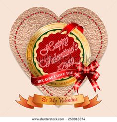 Vintage Happy Valentine's Day background with Because I Love You and Be My Valentine text on ribbon, vintage linen/jute in a shape of heart backdrop. Valentines Day Background, Happy Valentines Day, Because I Love You, My Love, Vintage Linen, Jute, Royalty Free Images, Vintage Photos