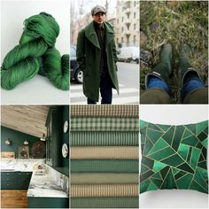 TFA Blue Label in Hunter, man in coat,boots, kitchen,plaids,pillow.