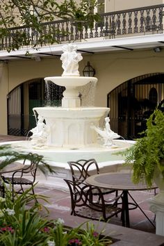 Courtyard  of the beautiful Maison Dupuy Hotel in New Orleans