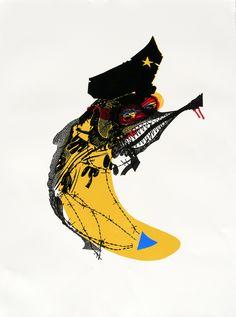 Expositie Spiegelbeeld | 9 januari t/m 13 februari 2016 | Kunstwerken van diverse jonge talentvolle grafici | Kristi Neider - The great banana | Linosnede en houtdruk €255,00| www.baxkunst.nl | #baxkunst #expo #art #graphicart #contemporaryart #dutchartist #localart #gallery #Sneek #Holland