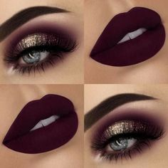 Glitter Eyes + Dark, Matte Lips Eye make up 43 Glitzy NYE Makeup Ideas Eye Makeup Tips, Makeup Inspo, Eyeshadow Makeup, Makeup Brushes, Beauty Makeup, Beauty Tips, Beauty Hacks, Dark Eyeshadow, Makeup Trends