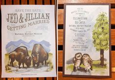 Adorable illustrations in this wedding invitation suite