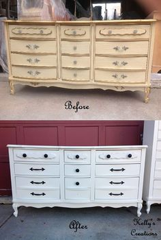 Large 12 drawer dresser painted white with modern black hardware before and after pictures.  Painted by Kelly's Creations Furniture.
