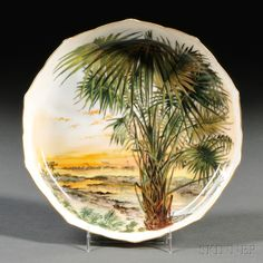 """PALMETTO CABBAGE."" --SOUP, State dinner service of Rutherford B. Hayes (President 1877-81) Designed by Theodore Russell Davis, American, 1840-1894. Made by Haviland et Cie, Limoges, France, c.1880-87. 1 13/16 x 9 inches (4.6 x 22.9 cm) p12"