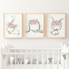 Woodland Boho Floral Bunny Nursery Wall Art Print Set | Baby, Girls