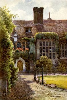Old Hall at Corpus Christi College, Ernest William Haslehust, watercolor