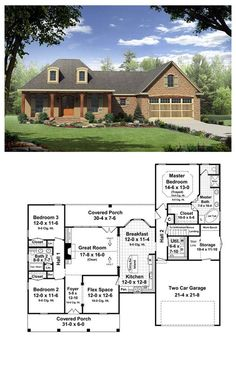 House Plan 59165 | Total living area: 1863 sq ft, 3 bedrooms 2 bathrooms. This inviting home has country styling with upscale features. The front and rear covered porches add usable outdoor living space. #frenchcountry #houseplan